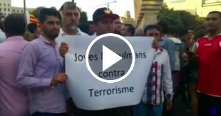 Musulmanes en Barcelona se manifiestan contra el terrorismo
