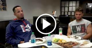 Pito Abreu y Yoan Moncada comparten una suculenta comida cubana
