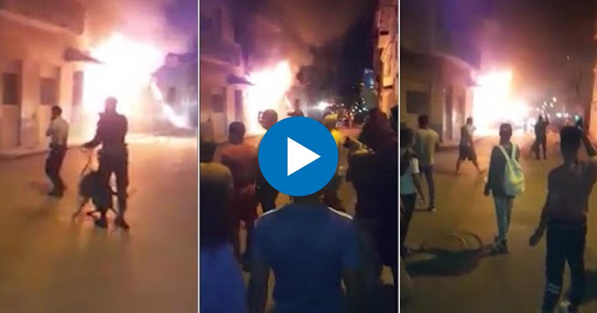 Gefährlicher Akkubrand in einer Werkstatt in Havanna | Bildquelle: https://t1p.de/buq6 © Facebook/Ismael Moreno | Bilder sind in der Regel urheberrechtlich geschützt