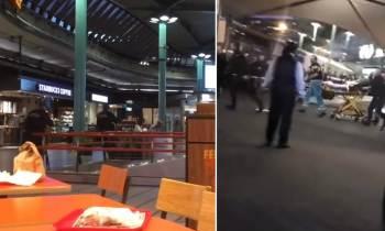 Momento en que la policía dispara a un hombre armado en el aeropuerto de Amsterdam
