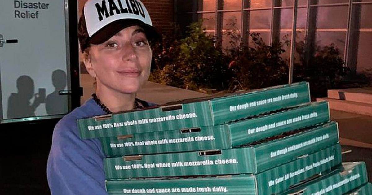 Lady Gaga reparte pizza y café a los afectados por los incendios de California